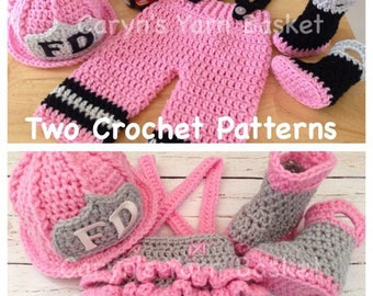 2 CROCHET PATTERNS 3 Month Size, Fireman Pants & Ruffled Butt Diaper Cover Set - All Included in PDF Download