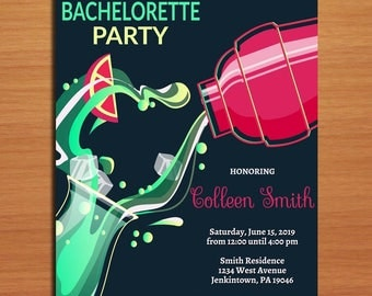 Electric Cocktail Bachelorette or Birthday Customized Printable Bachelorette Party Invitations /  DIY