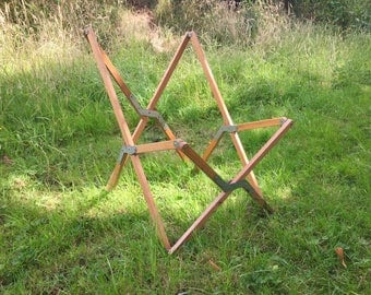 Sale ! Awesome wood wooden butterfly chair frame foldable portable tiny house camping travel 1960s rare !