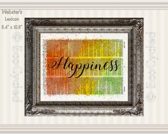 Happiness Inspirational Quote on Vintage Upcycled Dictionary Art Print Book Art Print Recycled meditation art gift mindfulness art gift