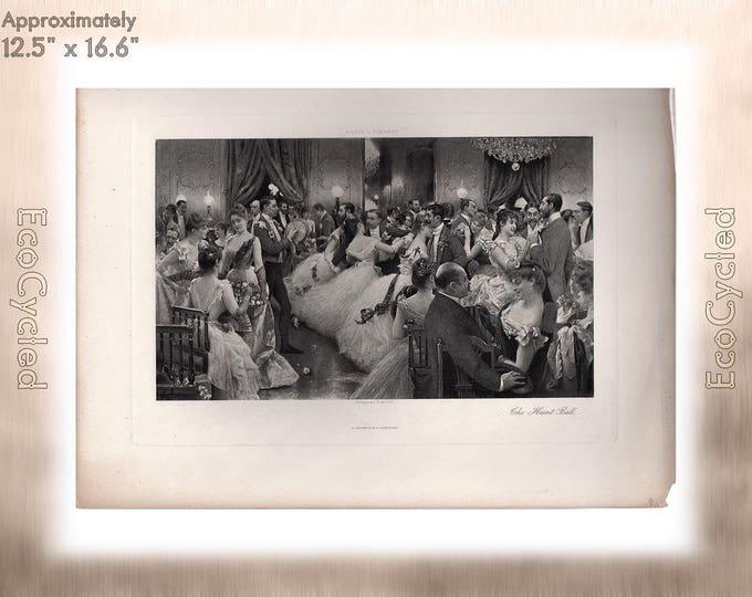 The Hunt Ball by Julius L Stewart Antique Photogravure Print Goupil Vintage Paper Ephemera zyxG19