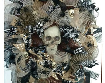 Skulls & Spiders Halloween Deco Mesh Door Wreath