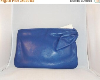 B-DAY SALE Vintage Handbag Clutch 80s Lord & Taylor Brio Blue Genuine Leather Purse Removable Strap Deadstock Nwt