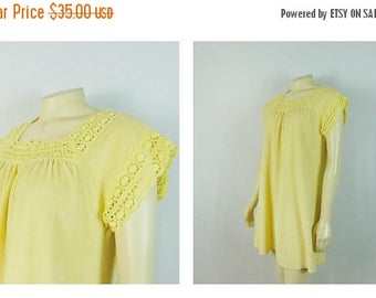 B-DAY SALE Vintage Nightgown 60s 70s Yellow Terrycloth Nightie Short Sleeves Modern Size Small