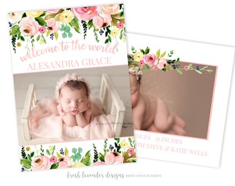 Birth Announcement, Floral Birth Announcement, Photography Template, Newborn Announcement,