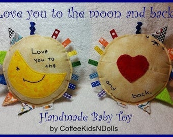 Love You To The Moon // Handmade Baby Toy // Embroidered and Applique // Sensory Toy  // Ribbons // Rattle // Baby Shower // Gift Idea