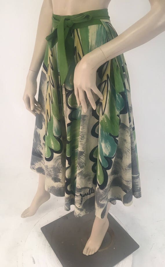 Vintage 1950s Jorelle Model Hand Painted Green Cotton Circle Skirt, Size XS from Mexico