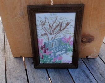 Ribbon embroidery wall picture