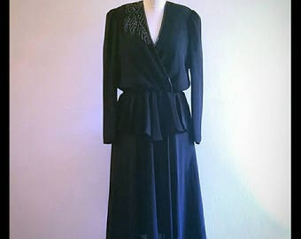 Vintage black chiffon dress