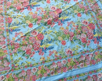 Vintage Cotton Tablecloth / Table Cover / April Covnell