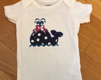 Baby girl whale applique bodysuit
