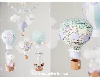 Gender Neutral Hot Air Balloon Baby Mobile, Elephant Nursery Decor, Travel Theme Nursery, Lavender, Blue and Gray, i251