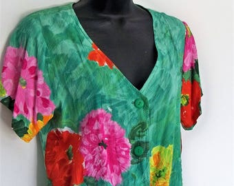 Jams World vintage blouse crop top Hawaiian print blouse Large button front floral green top sexy crop top exotic jungle Festival wear