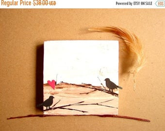CLEARANCE Love Birds on Branches-Mixed Media on Wood Block-Wedding Anniversary & Couple's Gift