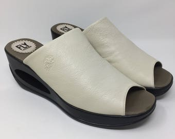 Fly London Leather Off White Wedge Slide Sandals 41 / 10-10.5 US