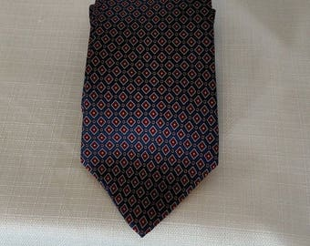 DON LOPER Tie 100% Italian Silk Blue Red Gold Geometric 60 inches Long