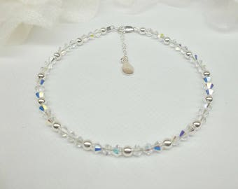 Clear Crystal Bridal Anklet Clear AB Crystal Wedding Ankle Bracelet Silver Sterling Wedding Jewelry Sterling Silver Anklet BuyAny3+1Free