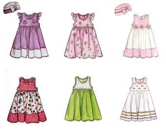 Girl's Dress, Girl's Hat, Pattern, Size 4 5 6, UNCUT, Butterick 6486, Toddler Dress, Dress with Ruffle, Sleeveless, Armhole Ruffle, Size 6