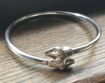 Sterling silver double headed snake bracelet