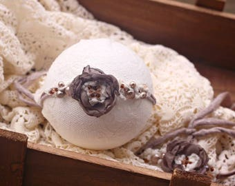 ready to ship newborn photography prop baby photo prop-beaded flower tieback headband with beads, light brown, neutral\\\\\\\\\\\\\ headband
