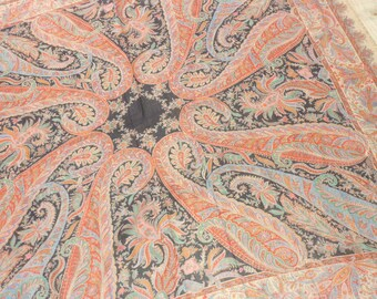 "Vintage Challis Wool Paisley Shawl...Large 54"" Square...Good Condition"