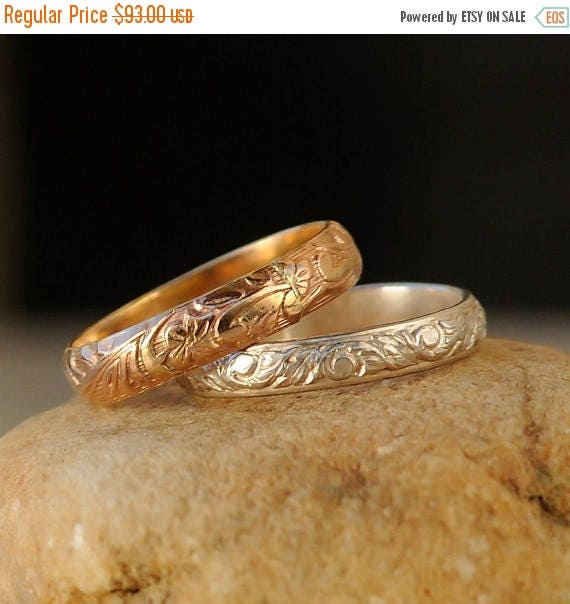 ON SALE Stacking Rings - Gold Silver Stacking Ring Set