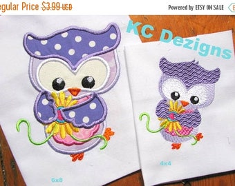 ON SALE Spring Owl With Yellow Flowers Machine Applique Embroidery Design