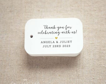 Thank you for celebrating with us Wedding Personalized Gift Tags Wedding Favor Tags Thank you tags - Set of 24 (Item code: J728)
