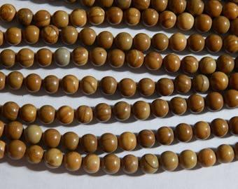6mm Wooden Jasper Round Polished Gemstone Beads, 15.5 Inch Strand (INDOC70)