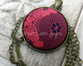 Pendant Necklace Fabric Pendant Lace Pendant Fabric Button Necklace Handmade Necklace Vintage Style Pendant Unique Necklace Navy and Coral
