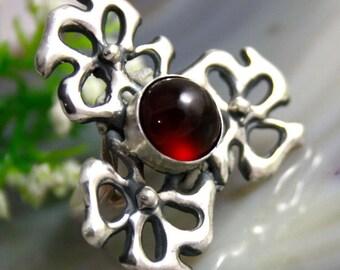 Garnet Ring, Hessonite Cinnamon Garnet, Garnet Silver Rings, Hessonite Garnet Ring, Izovella Jewelry
