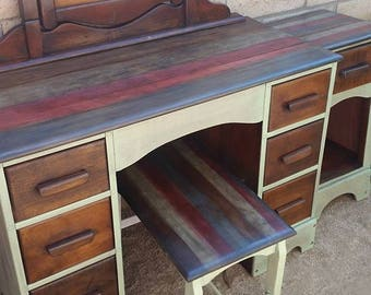 Custom Order Finish 3 Piece Vintage Vanity with Mirror Bench and Nightstand Bedroom Set.