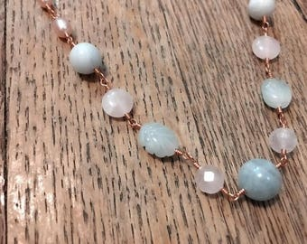Beaded Wire Wrapped Aquamarine and Pearl Necklace OOAK