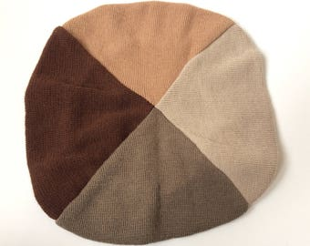 Vintage Neutral Tone Colorblock Beret Hat