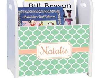 Personalized Mint Moroccan White Book Caddy and Rack Light Mint Pastel Aribesque Décor Orange Marrakech cadd-pat-454