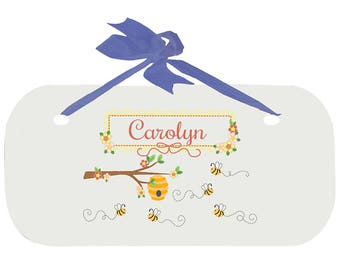 Personalized Boys Door Sign with Honey Bees Design-wplaq-blu-338