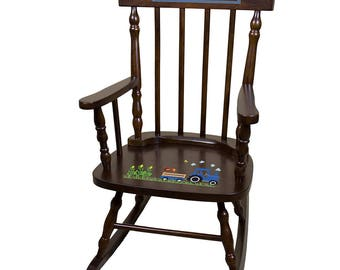Personalized Espresso Childrens Rocking Chair with Blue Tractor Design-spin-esp-211c