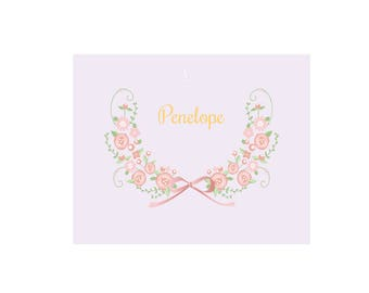 Personalized Floral Garland White Wall Canvas