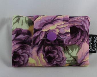 Business Card Wallet, Card Wallet, Business Card Holder, Wallet Card Case, Fabric Card Case, Fabric Wallet, Card Case, Purple Floral