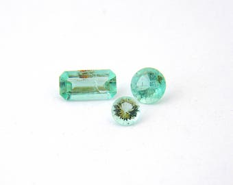 Pastel Green Beryl Faceted Gemstone Parcel 3 Gems Free Shipping