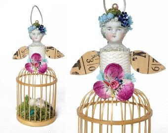 small birdcage girl ornament (7), birds nest art, santos garden sprite, assemblage art by Elizabeth Rosen