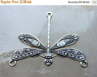 ON SALE Antique Silver Brass Dragonfly Component Finding Connector Vintage Style 25mm x 21mm QTY 1