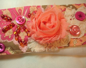 Flower Fabric Cuff- Peach and Pink - Beaded Fabric Cuff - Vintage lace trim - Button accents