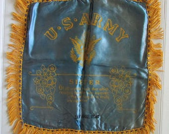 Vintage US Army Satin Pillowcase Gold Fringe Mid-Century Sister Camp Hood Texas