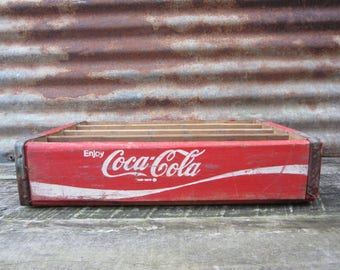 Vintage Wood Crate Coca Cola Beverages Coke Delivery Box Red & White Delivery Box Shabby Very Rustic AGED Distressed Industrial vtg Storage
