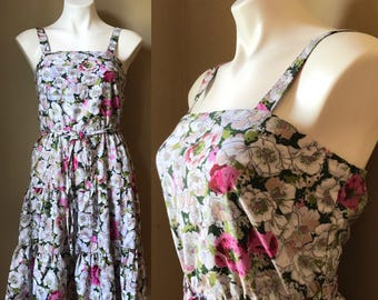 Vintage 1960s 1970s Floral Flowerchild Sundress Pink Green White Murray Meisner Dress