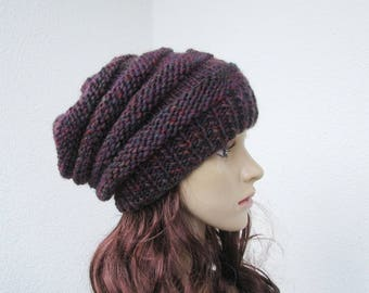 hand knitted slouchy springy hat, teens womens soft multicolor beanie, burgundy, purple mix