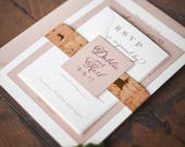 Vineyard Cork Wedding Invitation with Neutral Metallic Colors