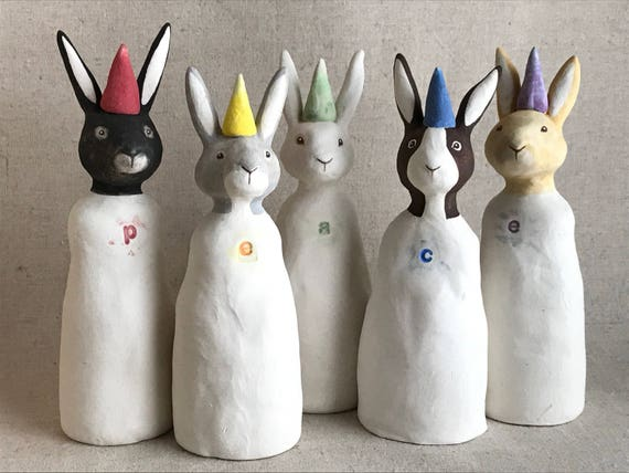 peace sculpture - five rabbit set - rainbow art