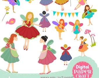 Fairy Clipart, Children Clipart, Flower Clipart, Fantasy clipart, Outdoor clipart, Clipart,  Faerie clipart, Nature Clipart, Bunting Clipart